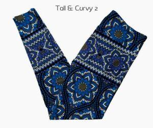 Lularoe Womens Leggings TC2 Size18-28 Blue's Black Gray Print Leggings