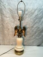 Vintage Ceramic and  Brass American Eagle  Patriotic Table Lamps Mid Century