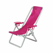 Adjustable Folding Deck Chair Dollhouse Miniature Furniture for Barbie Doll Gift