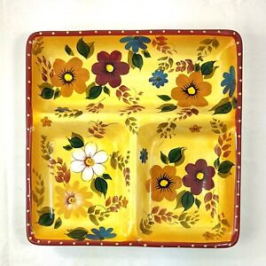 Oneida Kitchen SUNSET BOUQUET Large Divided Tray Serving Dish Hand Painted