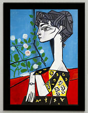 Pablo Picasso Jacqueline with flower, canvas print, framed, giclee 8.3X12
