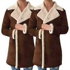 Men Winter Fleece Trench Coat Fur Warm Overcoat Casual Long Parka Jacket Outwear