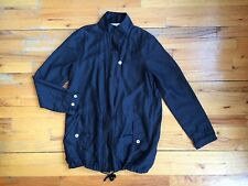 LOOMSTATE Act Natural Black Organic Cotton Silk Anorak Jacketzip Front Sz Xs EUC