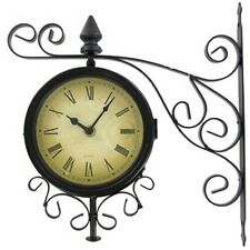 Spectacular Black Metal Two Sided Bracket Wall Clock.