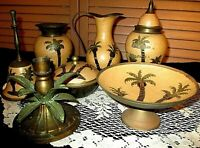 LOT OF 9 VINTAGE BRASS Decorative CLOISONNE ENAMEL PIECES. Vases DISH, Bell Ect