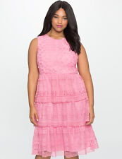 NWT Eloquii Pink Eyelet Lace Tiered Ruffle Dress Size 16 Cocktail Party Tea