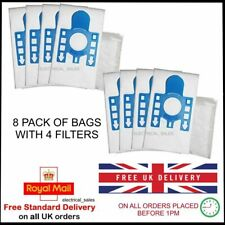 FITS MIELE GN COMPLETE C2 ALLERGY 10660760 CLOTH DUST BAGS x 8 WITH 4 FILTERS