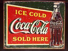 Ice Cold Coca Cola Sold Here TIN SIGN vtg Metal Decor 1923 Bottle Logo 30x40cm