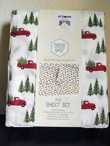 Trend Spot Full Size Winter/Christmas Trucks & Trees Sheet Set...NEW!