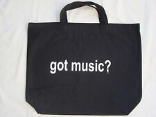 """Got Music Black/White Tote Bag Canvas 18"""" x 15"""" Great Music Gift Brand NEW"""