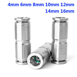 Straight 4-16mm Push-in Fittings Pneumatic Tube Hose Connectors 304 A2 Stainless