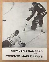 1961-62 NHL TORONTO MAPLE LEAFS @ NEW YORK RANGERS VINTAGE HOCKEY PROGRAM