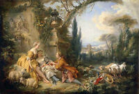 """Oil francois boucher Charms of life shepherdess lovers & sheep goats in view 36"""""""