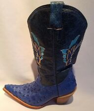 Jar Mexico Genuine Crocodile Leather Cowboy Boots Blue Butterfly Women's 5-1/2