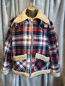 Vintage Retro Red & Blue Plaid Jacket With Wool Lining - Camden Grunge