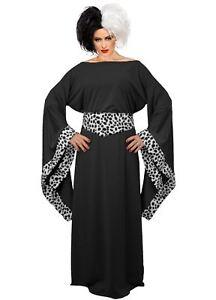 Ladies Black Cruella De Ville Costume 101 Dalmatians Halloween Fancy Dress