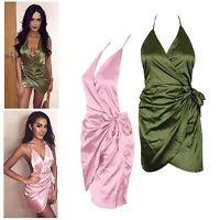 Women Bandage Bodycon Night Clubwear Party Evening Wrap Silk Cocktail Mini Dress
