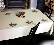 Christmas Rectangular Tablecloth Cream Xmas Candle NEW   Floral Present