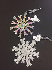 NEW Lot of 2 Disney Mickey Mouse Sparkle Snowflake Ornament Christmas Hidden