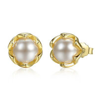 Sterling Silver S925 Gold Colour Pearl Stud Earrings With Free Gift Pouch