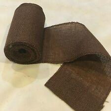 "5"" wide Brown Burlap Ribbon 10 Yard Roll 10oz -  30 feet Finished Edges BS155"