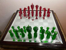 Complete Set of Green-Red Resin Chess Pieces with 3 1/2 in King (no chess board)