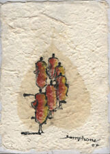 Original Ink and Oil with Bodhi Leaf   Monks Walking   Vientiane Laos      BL33