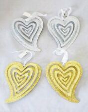 Heart Metal Ornament Set 4 Silver Gold 3-D Valentine Decor Pop-Out Gift
