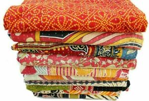 5 PC Indian kantha Quilt Throw Cotton Ralli Blanket Vintage Coverlet Bedspreads