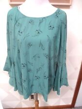 0741b192be06c5 LAUREN CONRAD-GREEN   BLACK-FLORAL-FLUTTER LONG BELL SLEEVE BLOUSE-SIZE