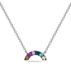 MODERN MULTI COLOR SAPPHIRE 14KT WHITE GOLD RAINBOW HANGING NECKLACE #NK12422WMS