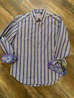 Robert Graham men's Purple Blue Plaid Embroidered Dress long sleeve shirt L Euc