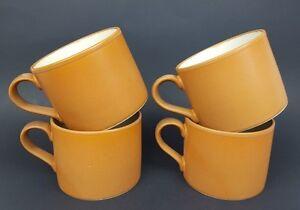 Williams Sonoma Rustic Fall Autumn Mid-Century Modern Brown Coffee Cup Mugs Farm