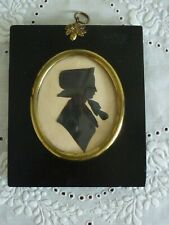 Antique 19th Century Framed Hand Cut Paper Silhouette Portrait of a Lady