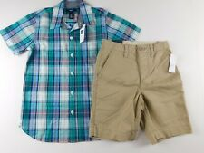 NWT Gap Boys 2 Pc Outfit SS Button Down Shirt/Khaki Shorts S(6-7) New Free Ship