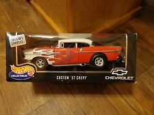 1/18 SCALE--HOT WHEELS--RED W/ FLAMES CUSTOM '57 CHEVY CAR (LOOK)