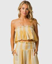 Rip Curl Seaside Stripe Tube Top Women's Bandeau Gold Yellow Medium M - GSHNA9