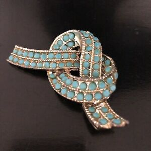 Turquoise & Gold Metal Overhand Knot Brooch