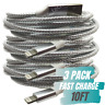 3Pack 10Ft USB Lightning Cable For iPhone 11 XR X 8 7 Fast Charger Charging Cord
