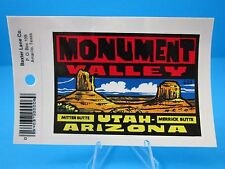 "VINTAGE... ""MONUMENT VALLEY UTAH - ARIZONA""  STICKER / DECAL  (NEW OLD STOCK)"