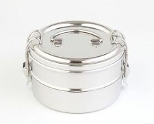 Green Essentials Double Bento Round Stainless Steel Lunch Box 1400ml