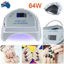 64W LED UV Nail Lamp Light Gel Polish Dryer Manicure Art Curing Rechargeable AU