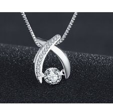 Dancing Sterling Silver Cubic Zirconia X Halo Pendant Necklace w Chain Gift Box