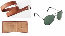 Combo of Brown Wallet Tan Color Belt and Black Aviator Style Sunglass