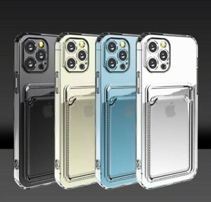 TPU Case Cover With Card Slot Holder with screen protector For iPhones