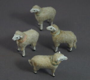 1920's Vintage 4 tiny German sheep, putz wooly, wood legs, compo body (# 11606)