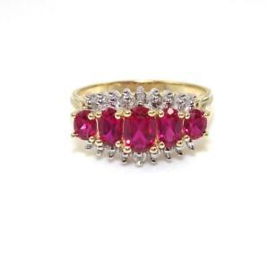 10K Yellow Gold Pink Ruby Diamond Ring Size 7.5