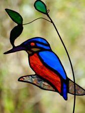 AZURE KINGFISHER Stained Glass Hand Crafted Suncatcher AUSTRALIAN BIRD DESIGNS