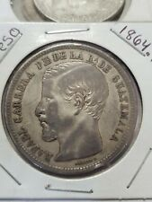 Guatemala 1864.R. 1 Peso Coin  Large Silver Crown Spectacular Coin nice patina