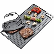 VonShef Black Pre-Seasoned Cast Iron Reversible Griddle Plate & Grill Press